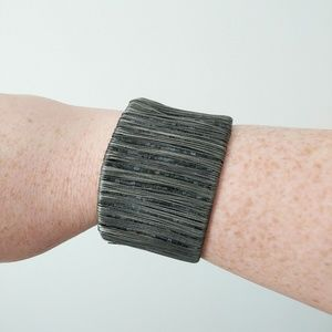 Wire Wrap Beaded Cuff Bracelet Gunmetal